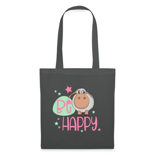 Be happy Schaf - Glückliches Schaf - Glücksschaf - Stoffbeutel