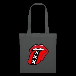 Rock en Roll Mond met een tong en Amsterdam logo - Tas van stof