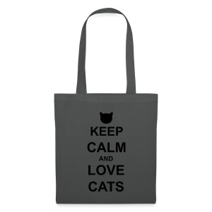 Keep Calm and Love Cats - Black - Tote Bag