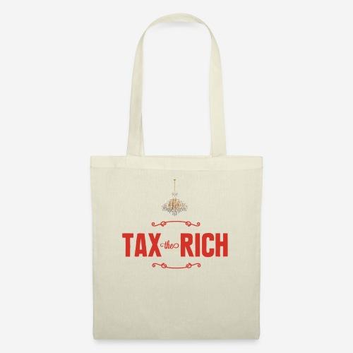 Tax the Rich, rött tryck med kristallkrona - Tygväska