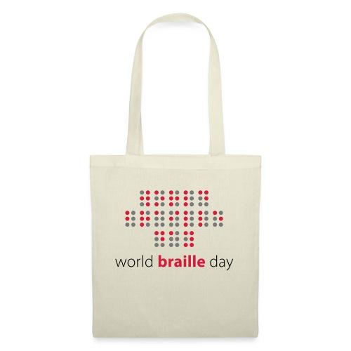 Slogan World braille day. Wereld braille dag. - Tas van stof