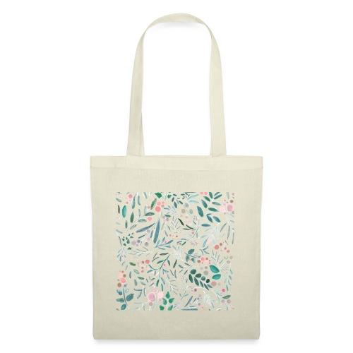 floral pattern, acquerello di fiori e foglie - Borsa di stoffa