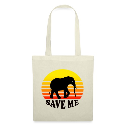 Elefant SAVE ME Schattenriss Sonne - Stoffbeutel