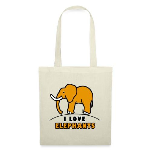 Elefant - I LOVE ELEPHANTS - Stoffbeutel