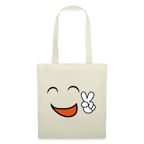 happy face and peace emoji - Bolsa de tela