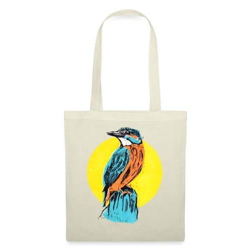Linocut Kingfisher - Stoffbeutel
