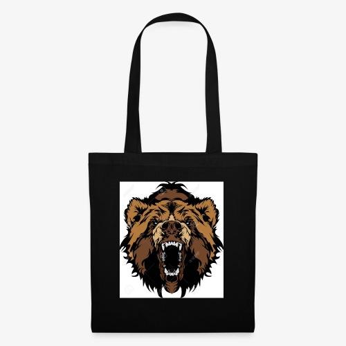 oso grizzly mascota cabeza vectorial - Bolsa de tela