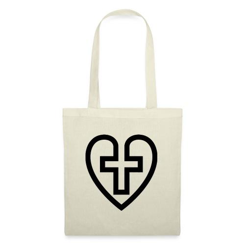 Symboliskt kristet kors i ett hjärta - Tygväska