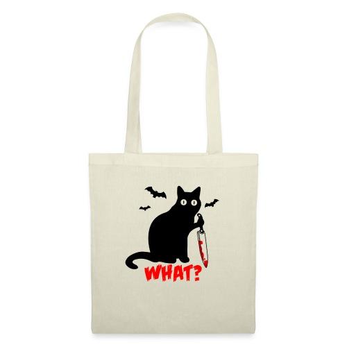 Was? Schwarze Psycho Katze mit Messer - Stoffbeutel