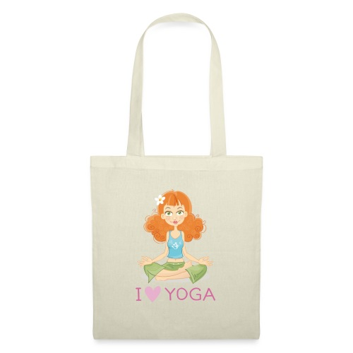 Yoga Lotus Pose Cartoon Girl - Stoffbeutel