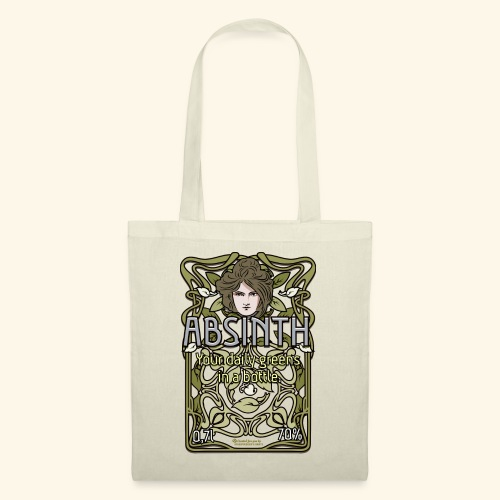 Absinth Your Daily Greens in a Bottle Art Nouveau - Stoffbeutel