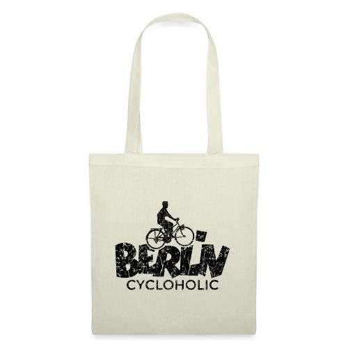 Berlin Cycloholic (Vintage/Schwarz) Fahrradfahrer - Stoffbeutel