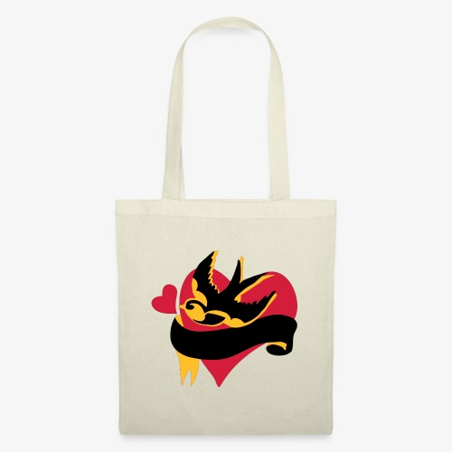 retro tattoo bird with heart - Tote Bag