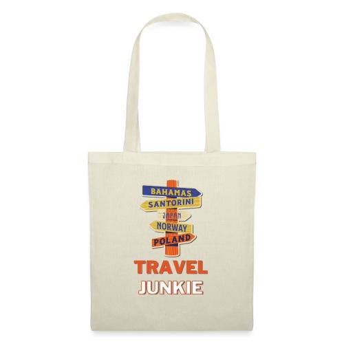 traveljunkie - i like to travel - Stoffbeutel