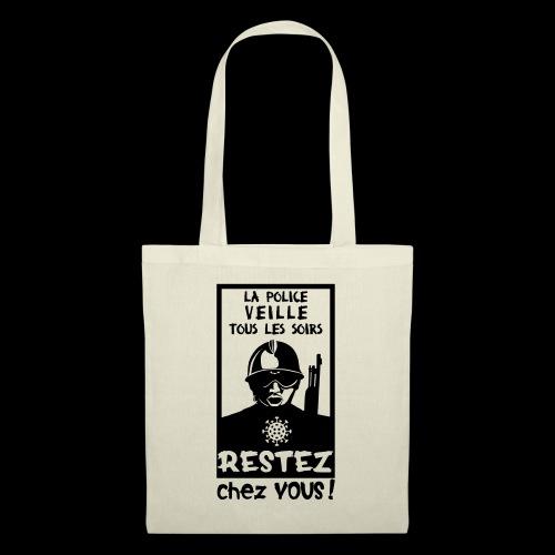 Couvre-feu - La Police Veille.. (Motif N°3) - Sac en tissu