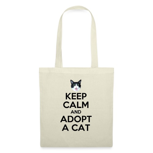 keep calm and adopt a cat - Stoffbeutel