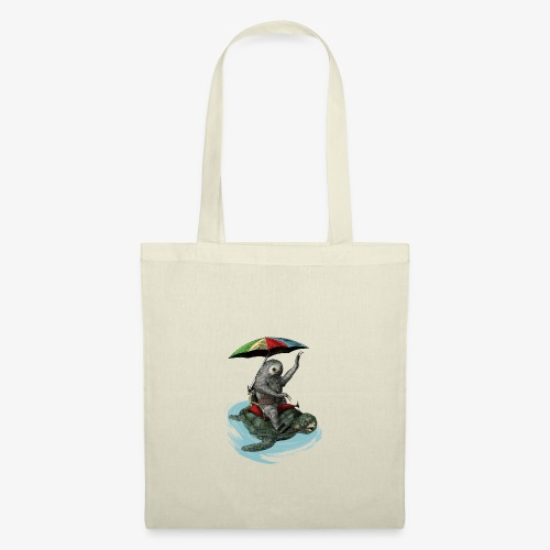 Two toed Sloth riding a turtle - Tote Bag