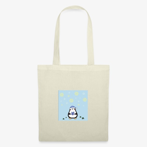 pingouin de Noel sur fond bleu - Tote Bag