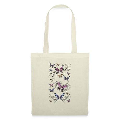 Tattoo de mariposas lilas y rosas - Bolsa de tela