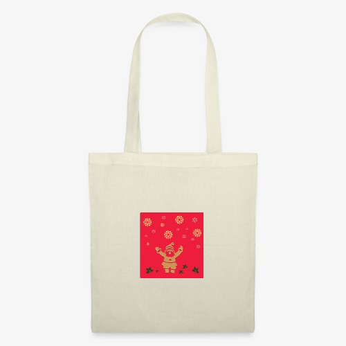Santa Claus on a red background and snowflake - Tote Bag