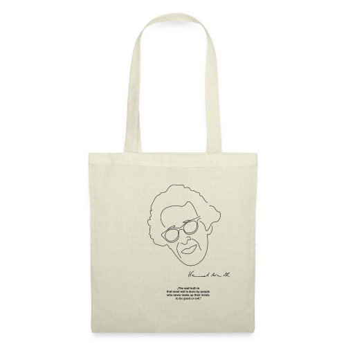 Hannah Arendt Sketch and Quote black - Stoffbeutel