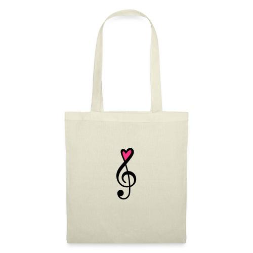 Notenschlüssel Herz rot Musik - Stoffbeutel