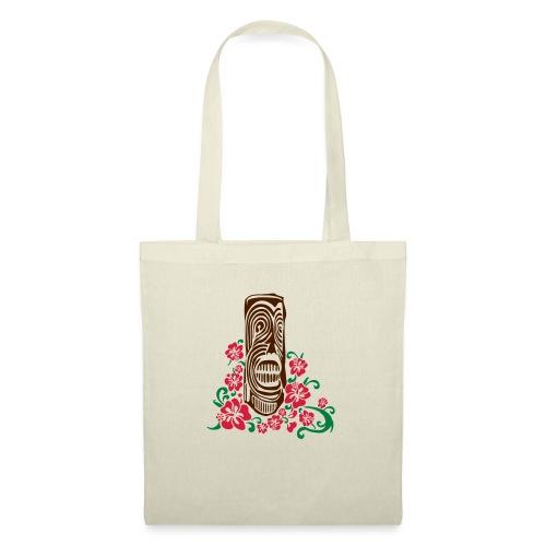 Tiki Totem with Hibiscus Flowers - Tote Bag