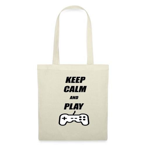 Maglietta Keep Calm And Play bianca. - Borsa di stoffa