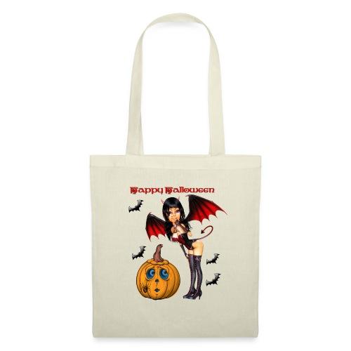 Happy Halloween Kürbis mit Fledermausgirl - Stoffbeutel