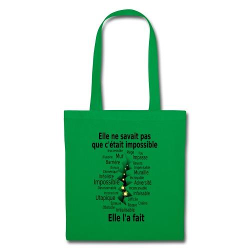 Impossible et fait Femme brèche Fond Clair - Tote Bag
