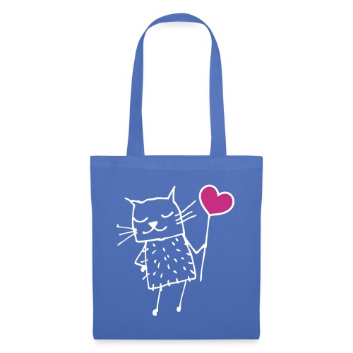 Katze mit Herz: Liebe - Stoffbeutel
