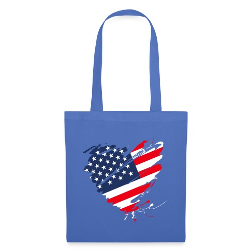 USA Amerika Sterne und Streifen Herz Grunge Flagge - Tote Bag