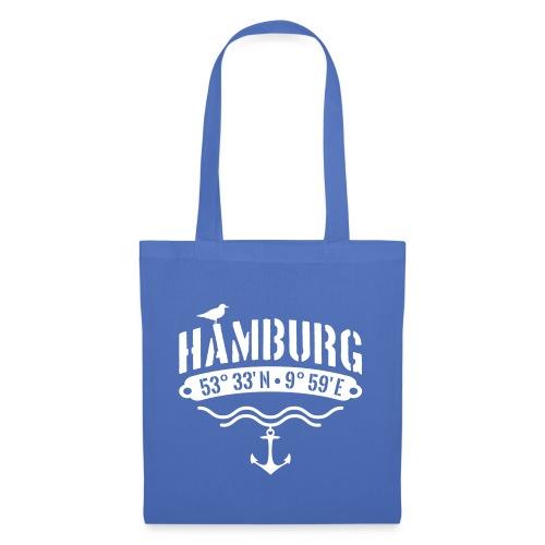 Hamburg Koordinaten Anker Möwe Längengrad - Stoffbeutel
