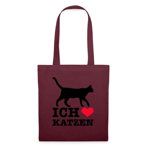 Ich liebe Katzen mit Katzen-Silhouette - Stoffbeutel