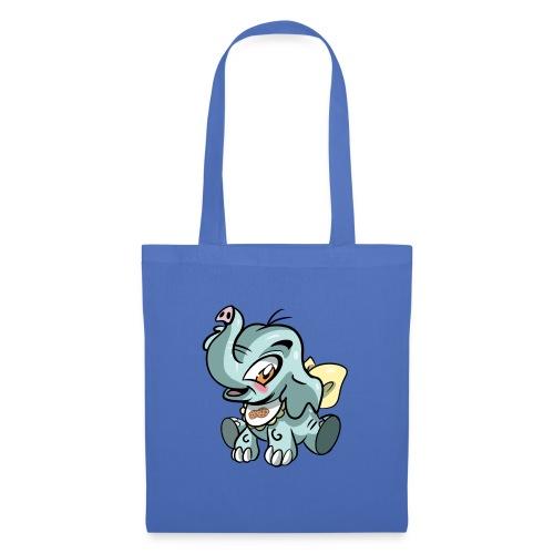 Kleine olifant cartoon`grappige met pinda - Tas van stof