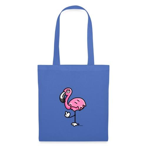 Flamingo zeigt Stinkefinger - Stoffbeutel