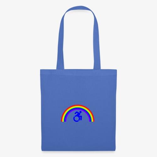 > Trotse rolstoel gebruiker met regenboog, lgbt - Tas van stof