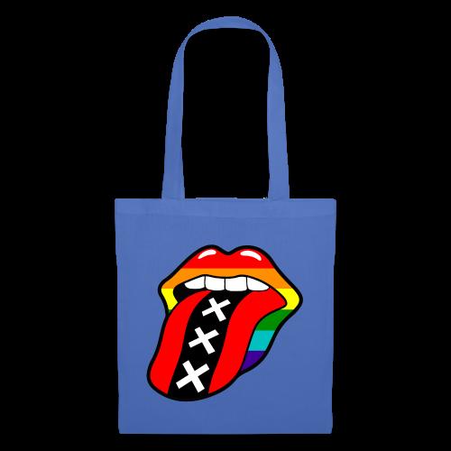 Gay pride rainbow mond met tong en Amsterdam logo - Tas van stof