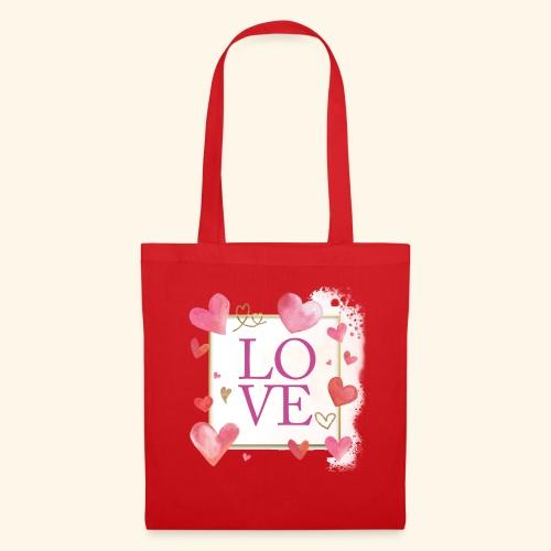LOVE E HEARTS - Borsa di stoffa