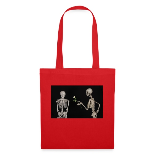 Skelett Gothic Valentinstag - Stoffbeutel