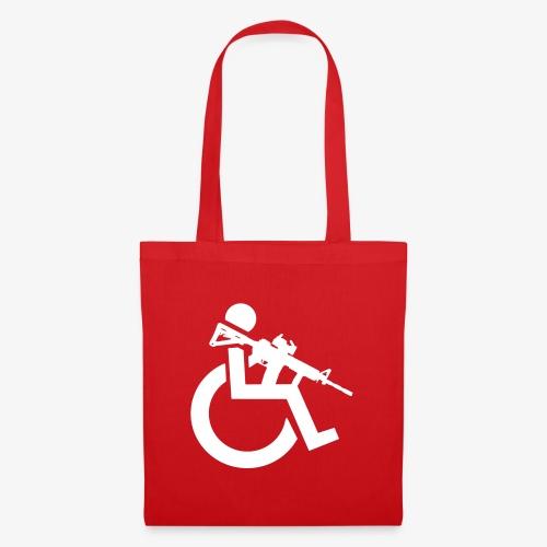 Gewapende rolstoel gebruiker met geweer, wapen - Tas van stof
