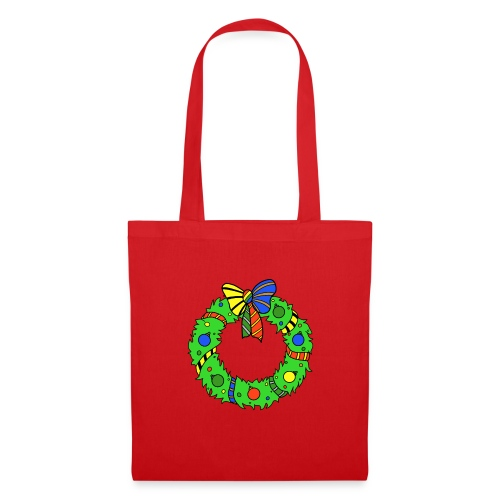 Christmas Wreath in House Colours - Tote Bag