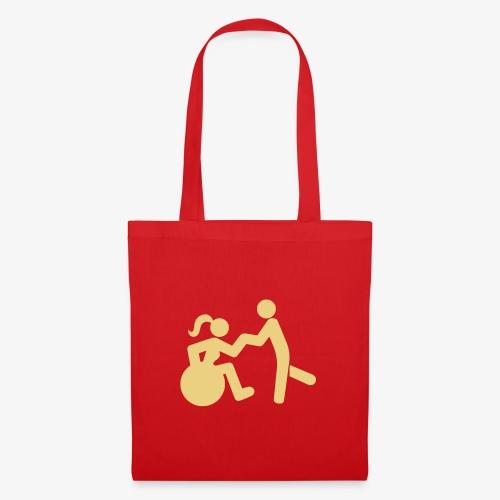 Afbeelding van vrouw in rolstoel die danst met man - Tas van stof