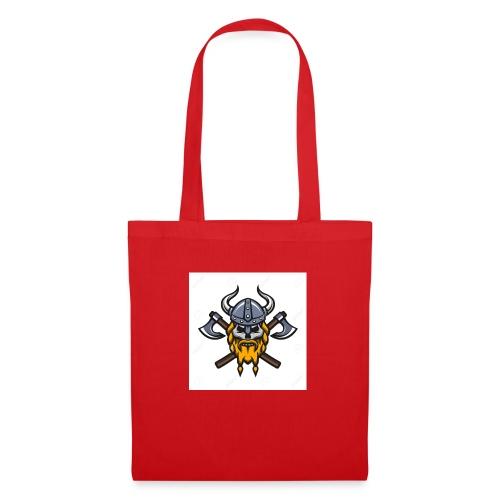 Viking Warrior Skull and Axes badge logo - Tote Bag