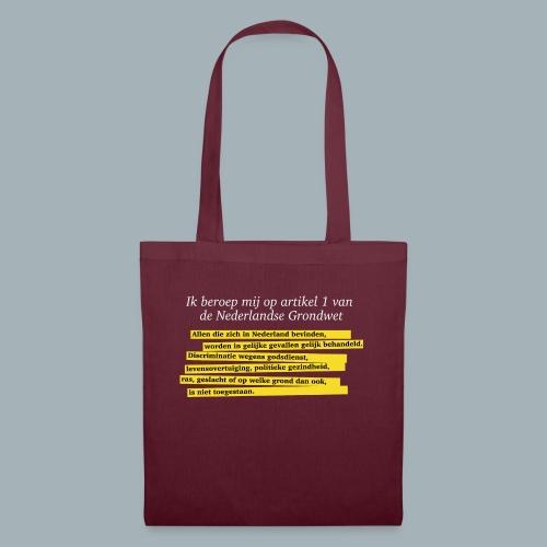 Nederlandse Grondwet T-Shirt - Artikel 1 - Tas van stof