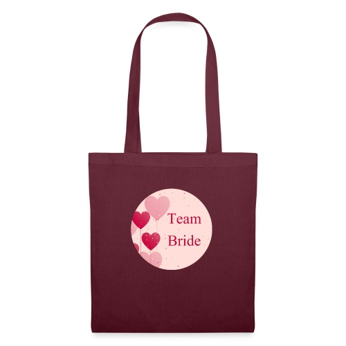 Team Bride Heart pink - Stoffbeutel