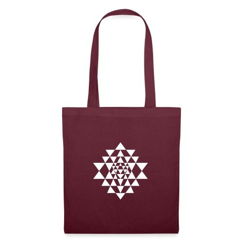 Valkoinen Shri Yantra -kuvio - Kangaskassi