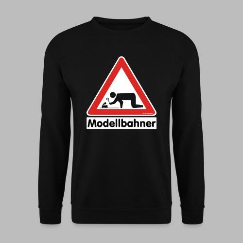 Warnschild Modellbahner Dampflok - Männer Pullover