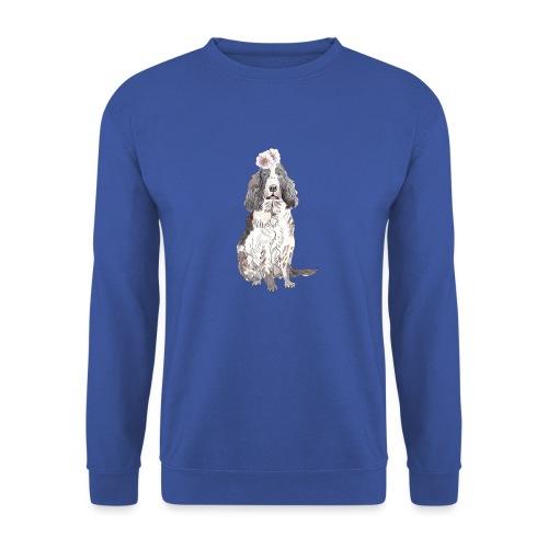 English cocker spaniel with flower - Unisex sweater