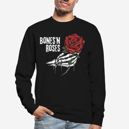 Schädelknochen Rosen - Unisex Pullover